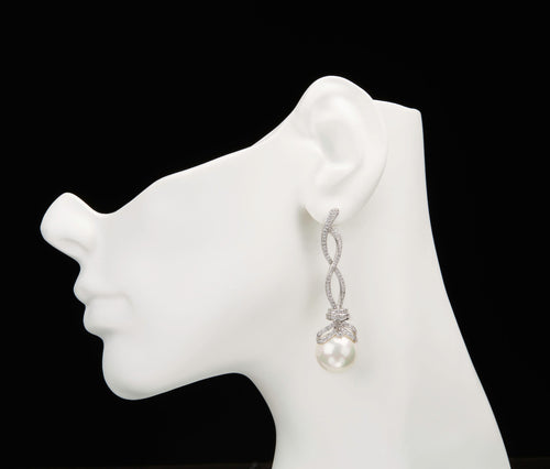 Silver Drop Earrings with Plastic Pearl