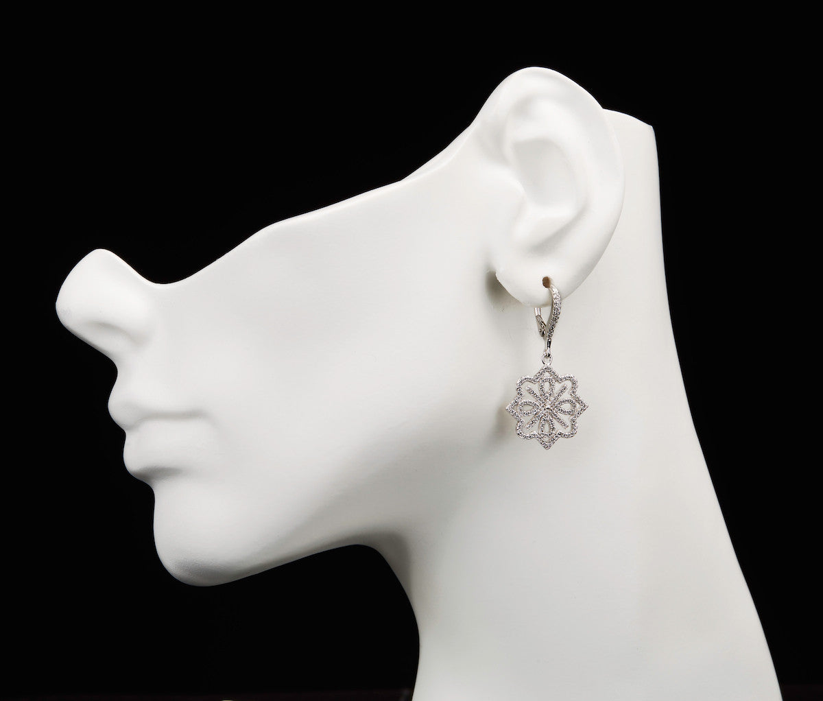 Silver Round Snowflakes Drop Earrings