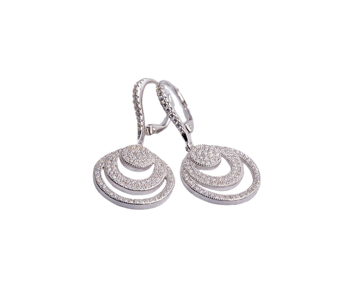 Silver Concentric Circles Drop Earrings
