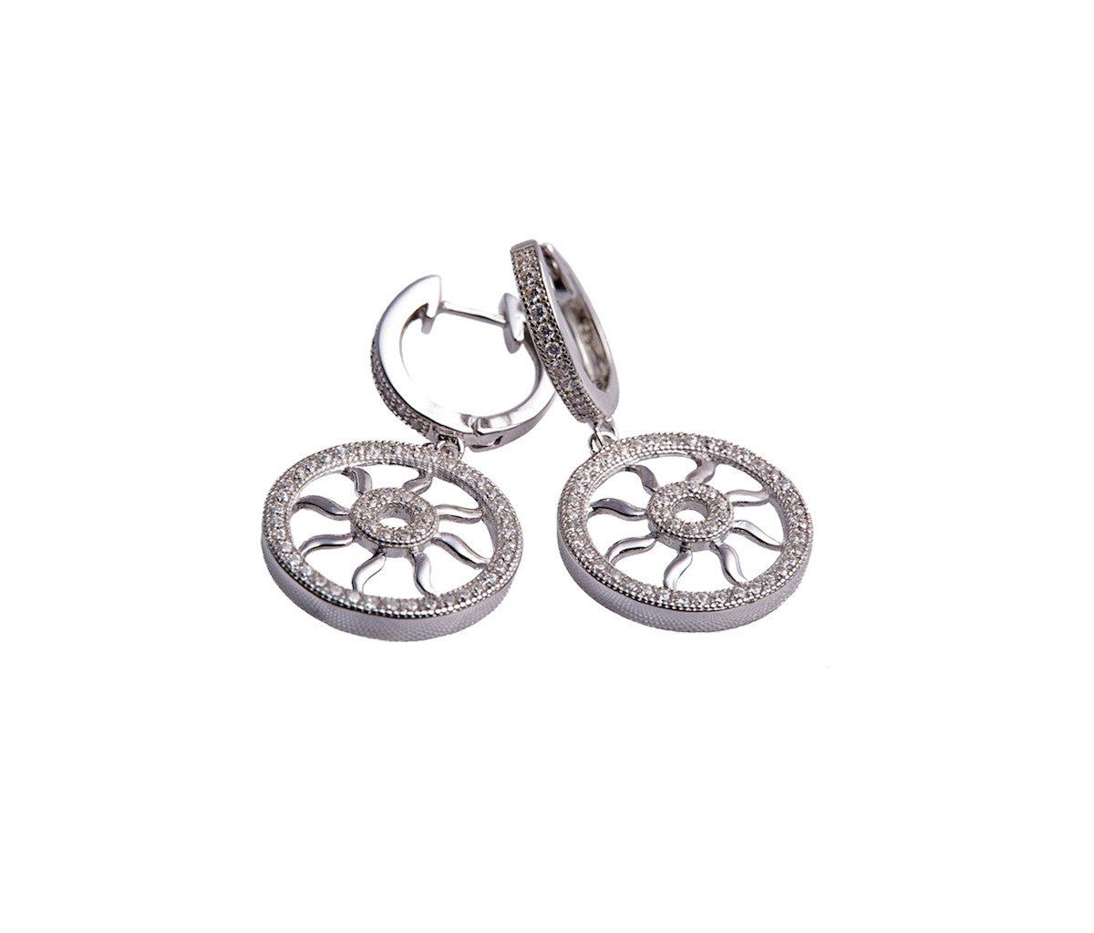 "Silver Round ""Wheel of Life"" Drop Earrings"