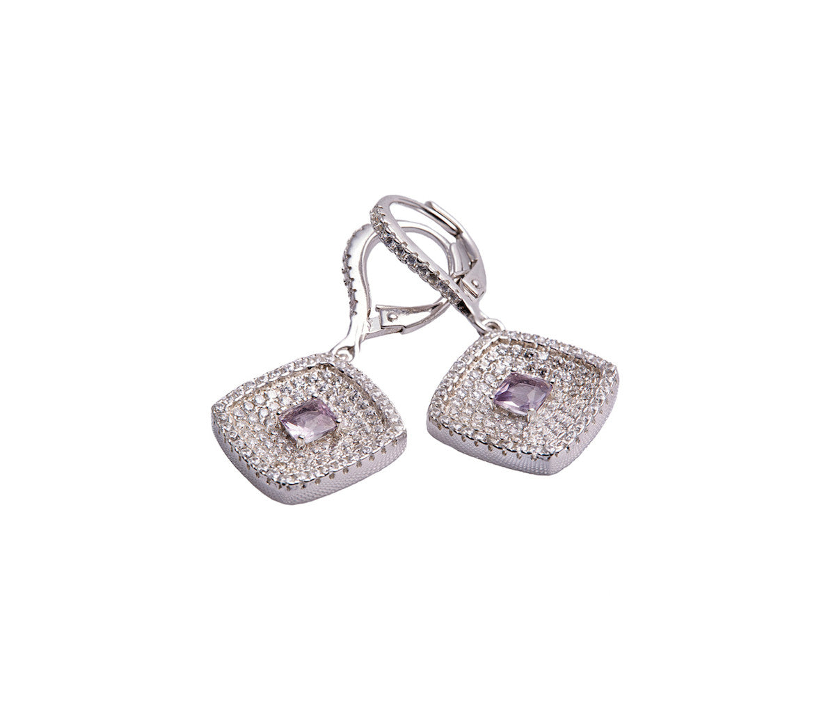 Amethyst & White CZ Silver Rhombus Earrings