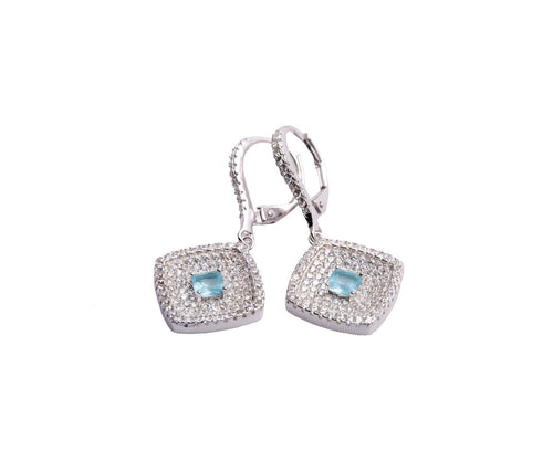 Blue Topaz & White CZ Silver Rhombus Earrings