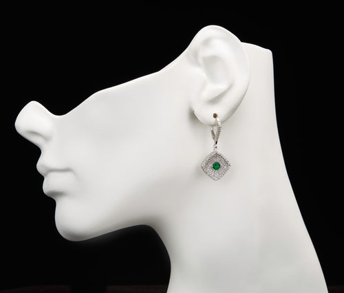 Emerald & White CZ Silver Rhombus Earrings