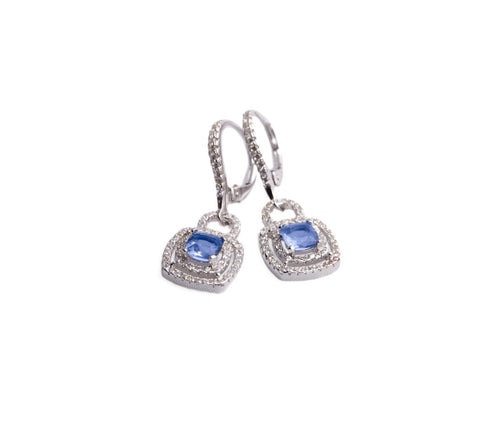Blue Topaz Silver Square Drop Earrings