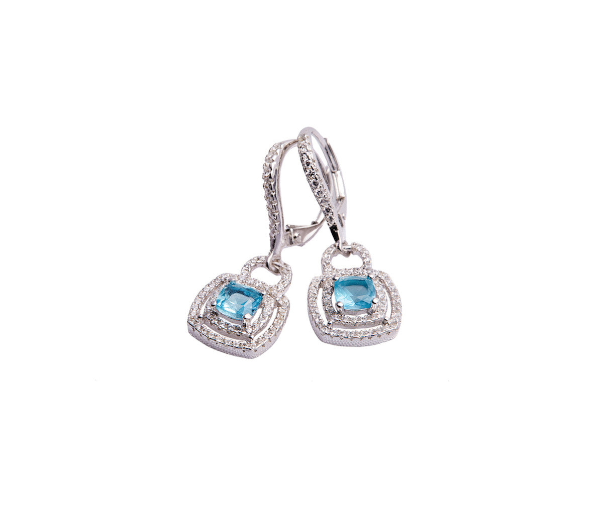 Blue Tanzanite Silver Square Drop Earrings