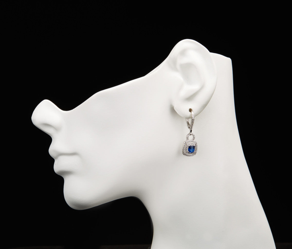Sapphire Silver Square Drop Earrings
