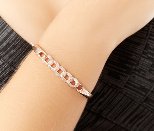 Rose Gold-plated Bracelet with Braided Circles