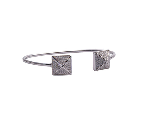 Silver Metallic Cord Bracelet with Steel Clasp