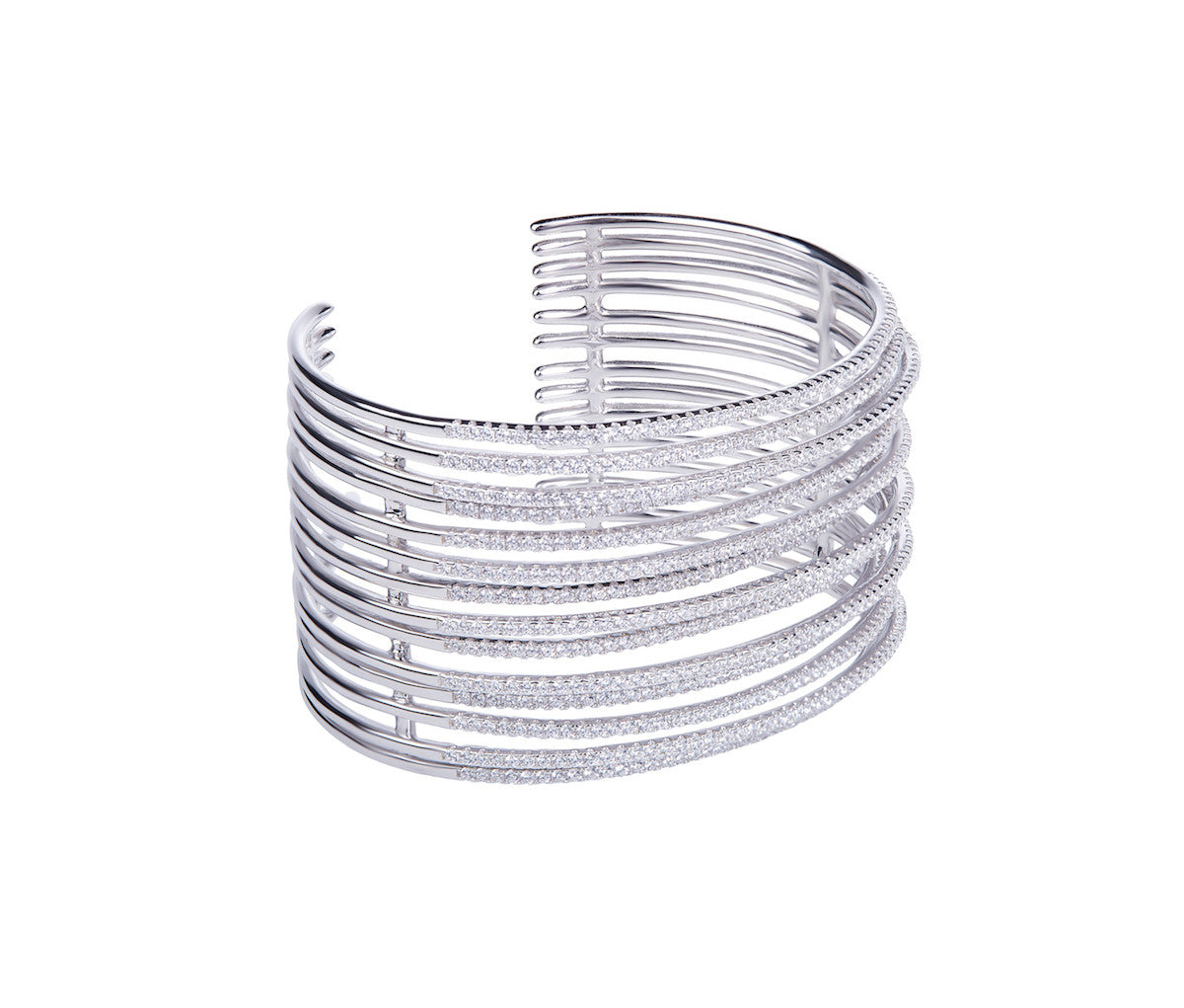 Silver Multi-Row Bangle