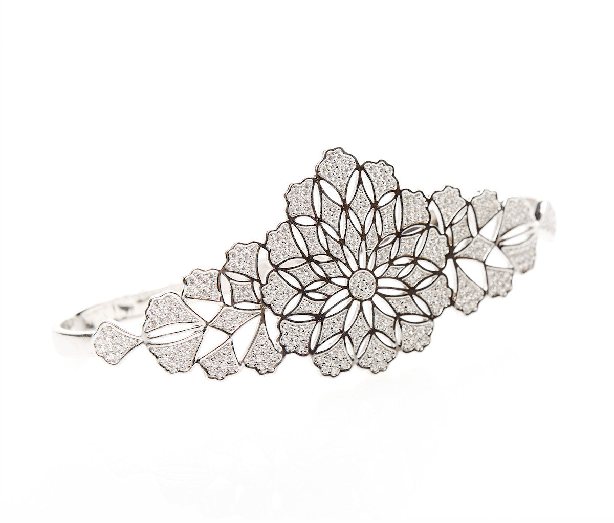 Silver Flower Pattern Palm Bracelet