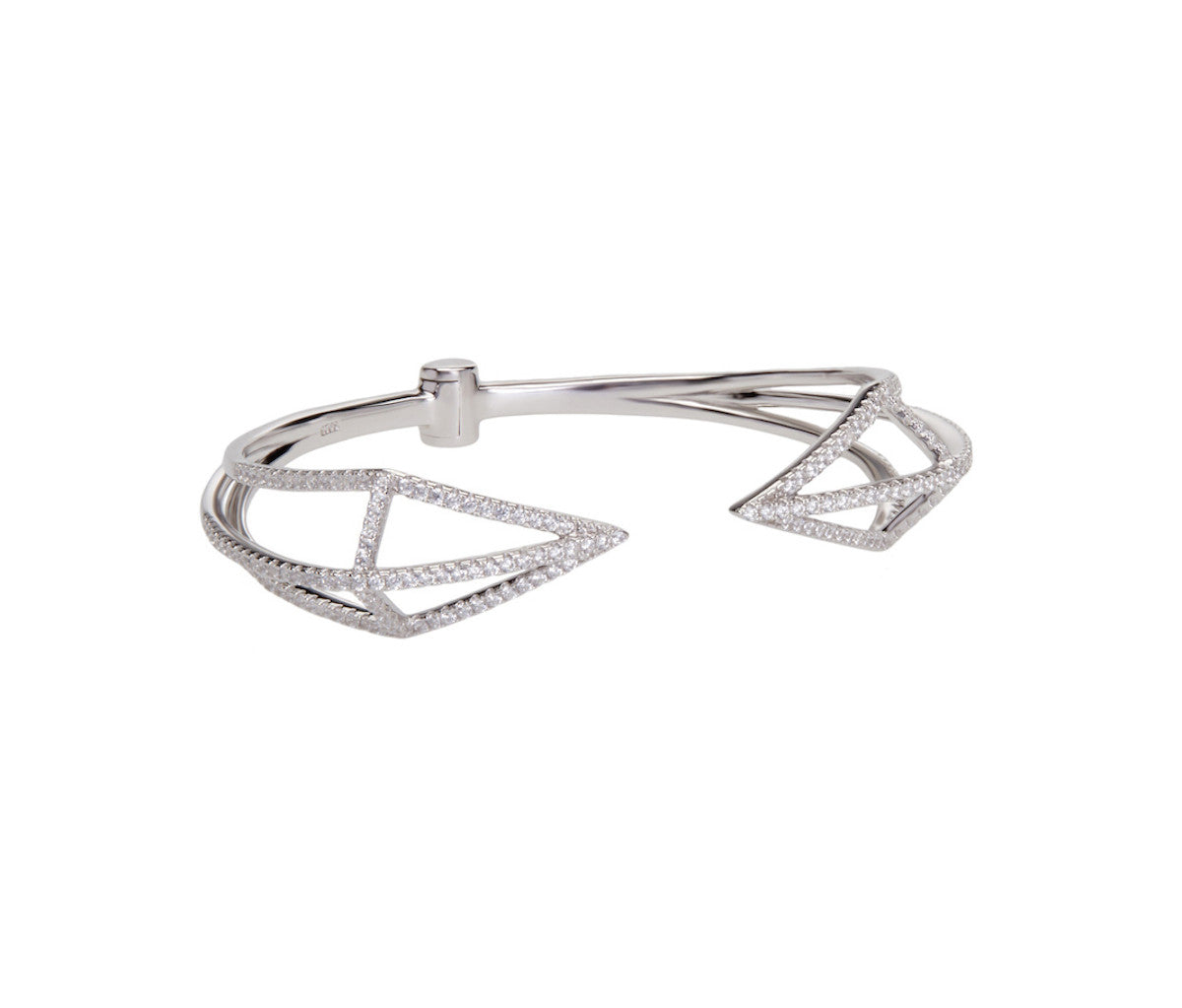 Silver Dual Rhombus Open Bangle