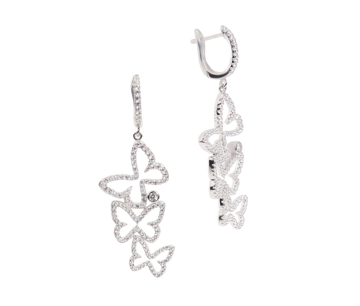 Silver Triplets Butterfly Earrings
