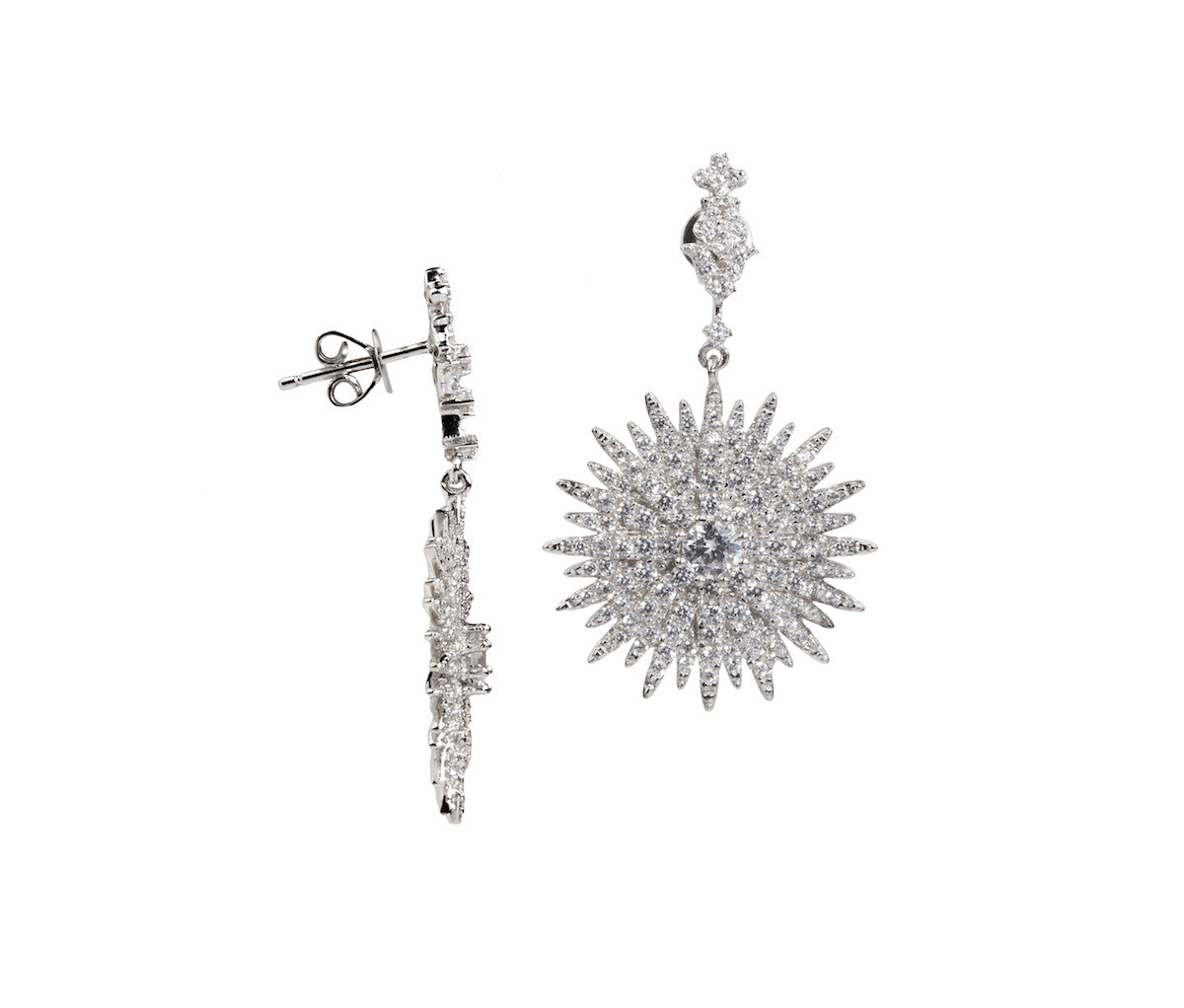 Silver Dazzle Explosion Earrings