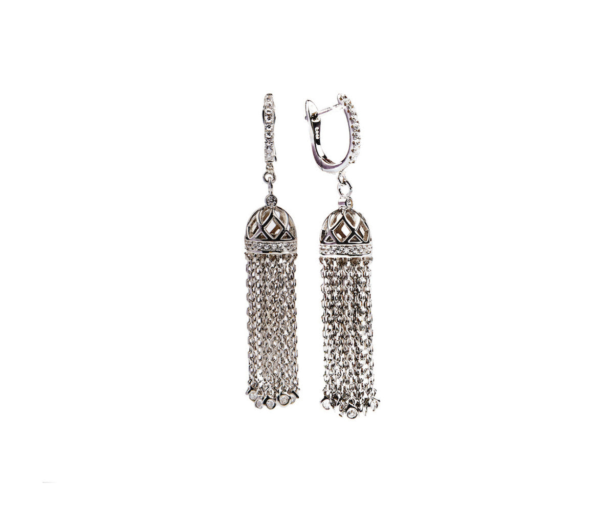 Silver Tassel Leverback Earrings