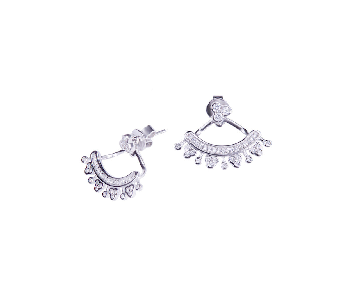 Silver 3D Stud Earrings