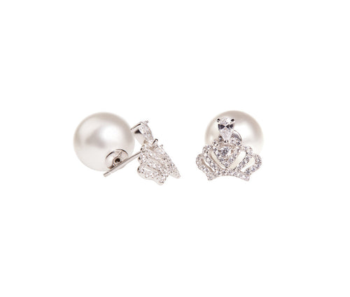 Silver Crown and Pearl  Earrings
