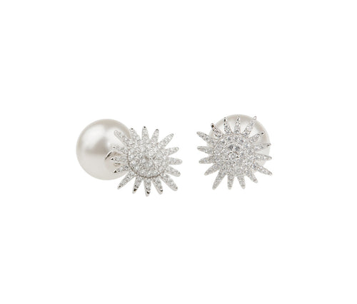 Silver Sunshine & Pearl Earrings