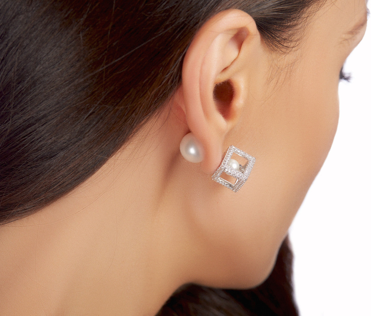 3D Square & Double Pearl Earrings