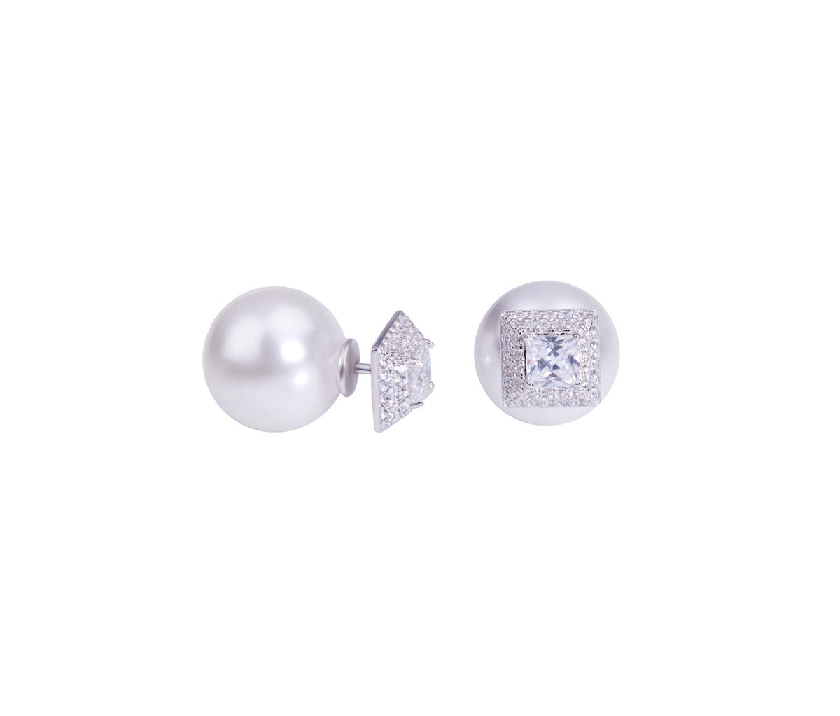 Silver Pyramid & Pearl Earrings