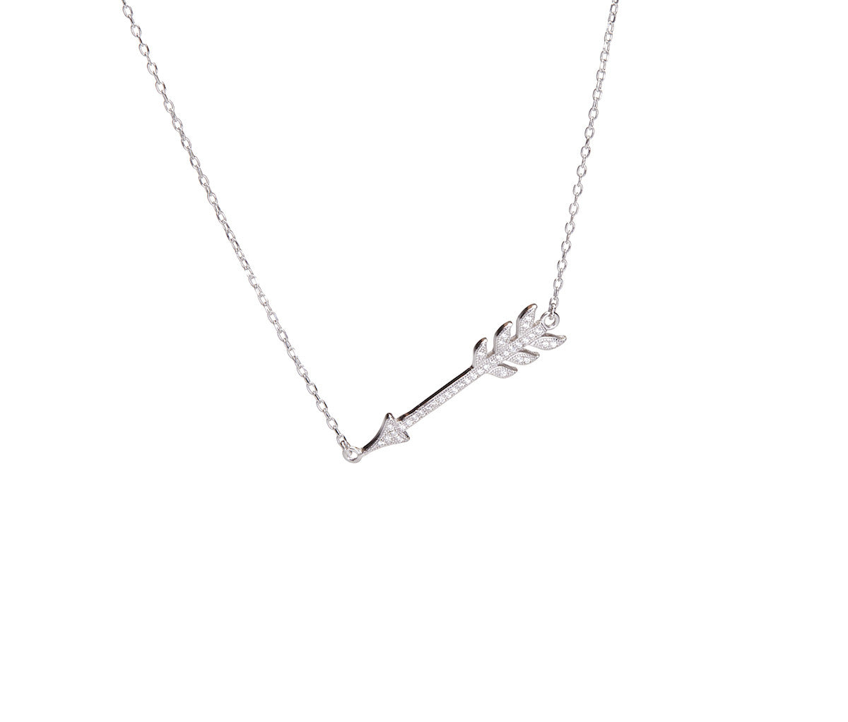 Silver Necklace With Long Arrow Pendant