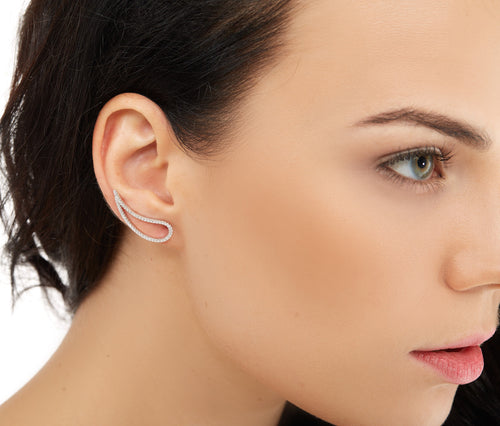 Silver Single Drop Cuff Earring