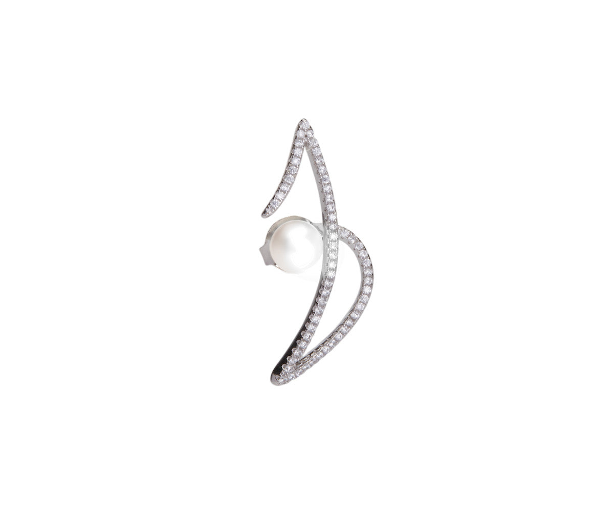Silver Z-Shaped Stud Earrings with a Pearl