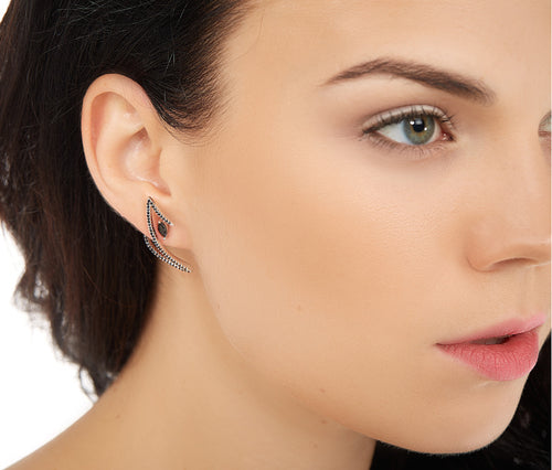 Black Silver Z-Shaped Stud Earrings
