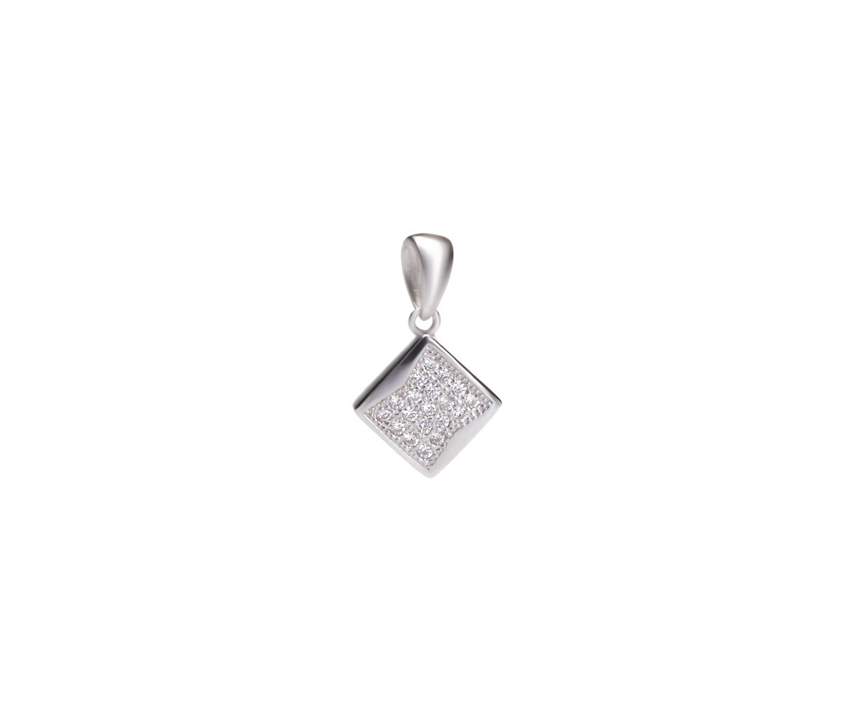 Silver Necklace with Rhombus/Square Pendant