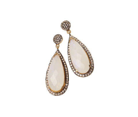 Smokey Quartz & White Topaz Teardrop Earrings