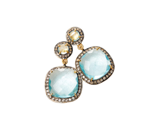Blue Topaz Hydro Quartz & White Topaz Square Earrings
