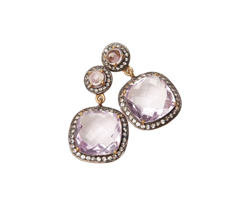 Amethyst & White Topaz Square Earrings