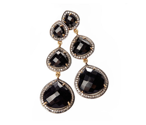 Black Onyx & White Topaz Earrings