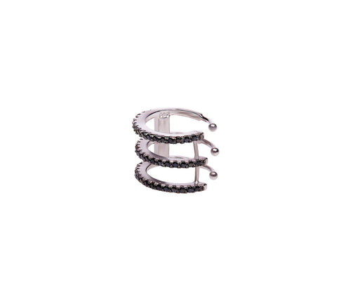 Black Silver Wrap Cuff Earring