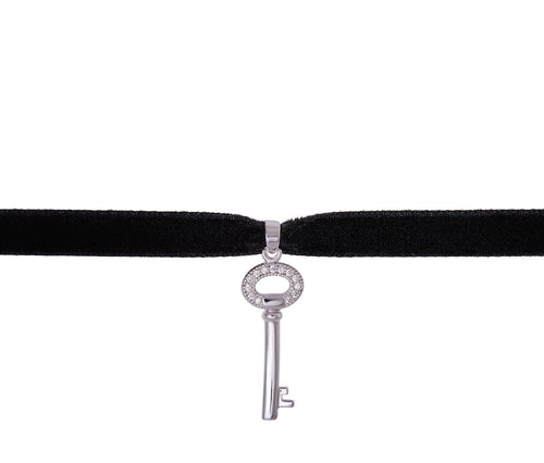 Silver Key Velvet Necklace