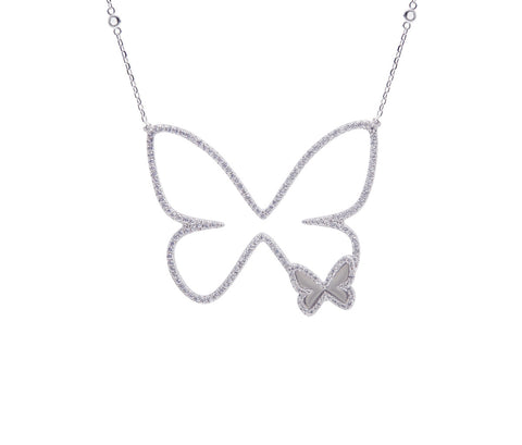 Black CZ Rose Gold-plated Silver Butterfly Necklace