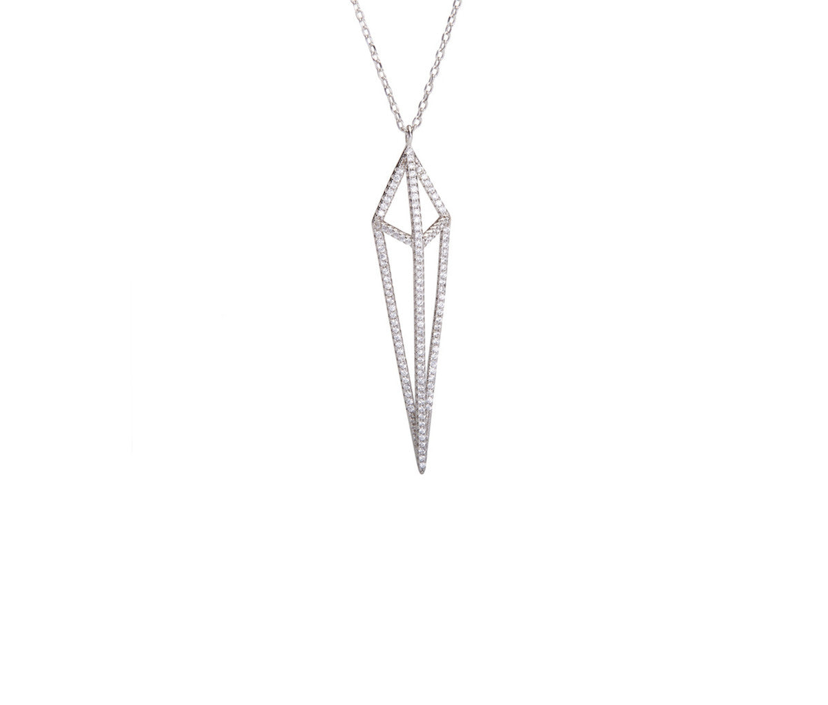 Silver Rhombus-shaped Necklace