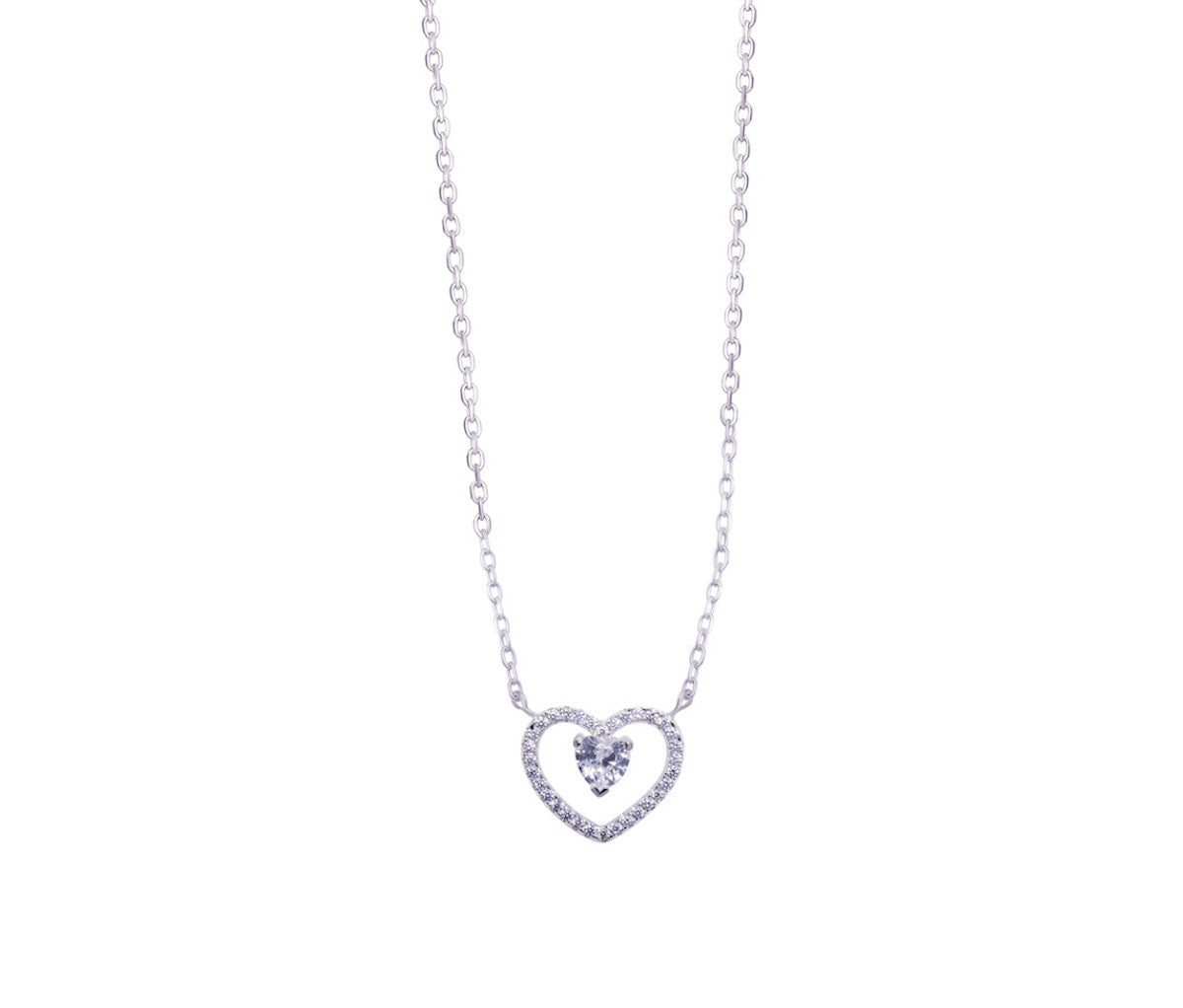 Silver Duo Heart Layer Necklace