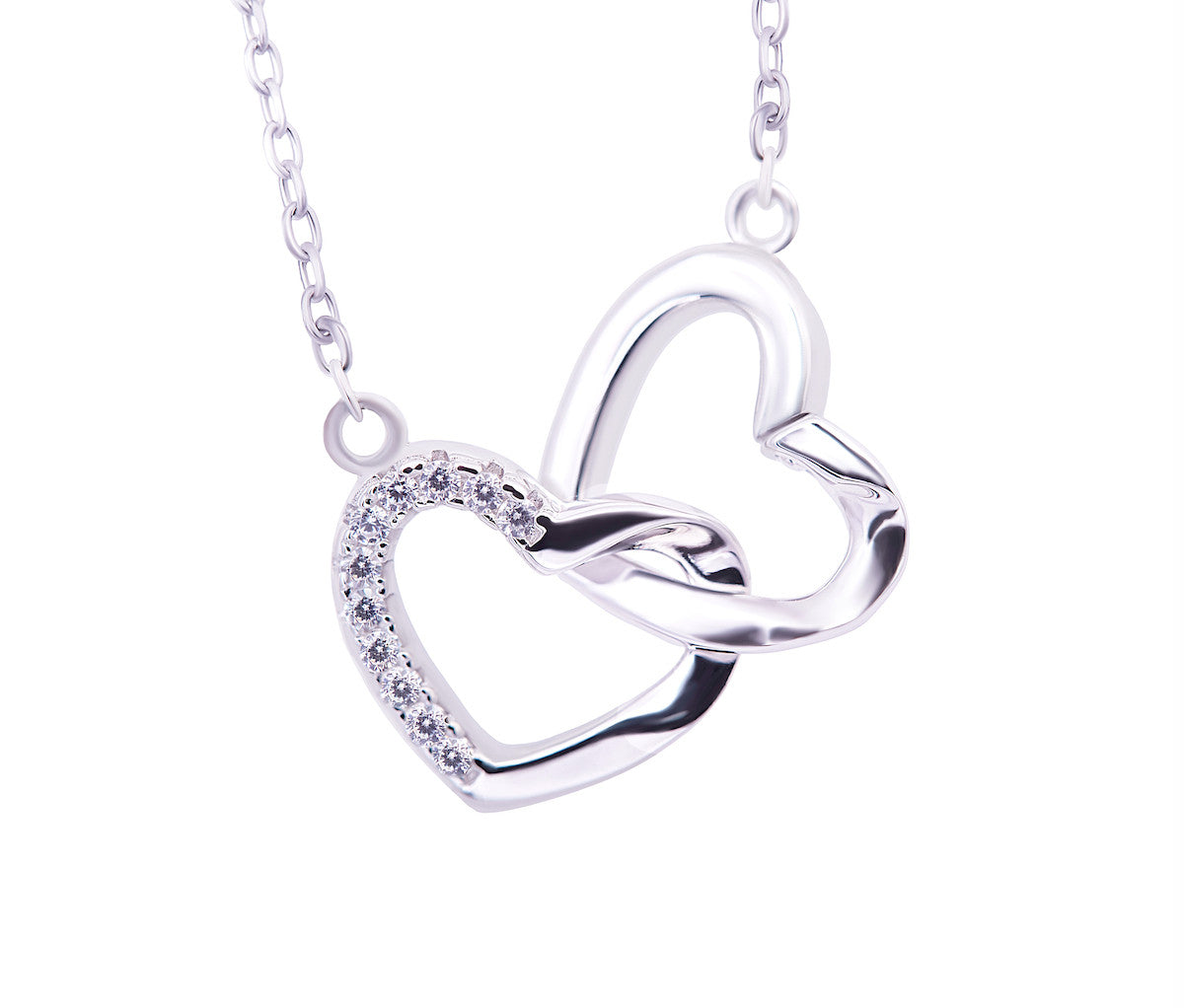 Silver Necklace With Locked Hearts
