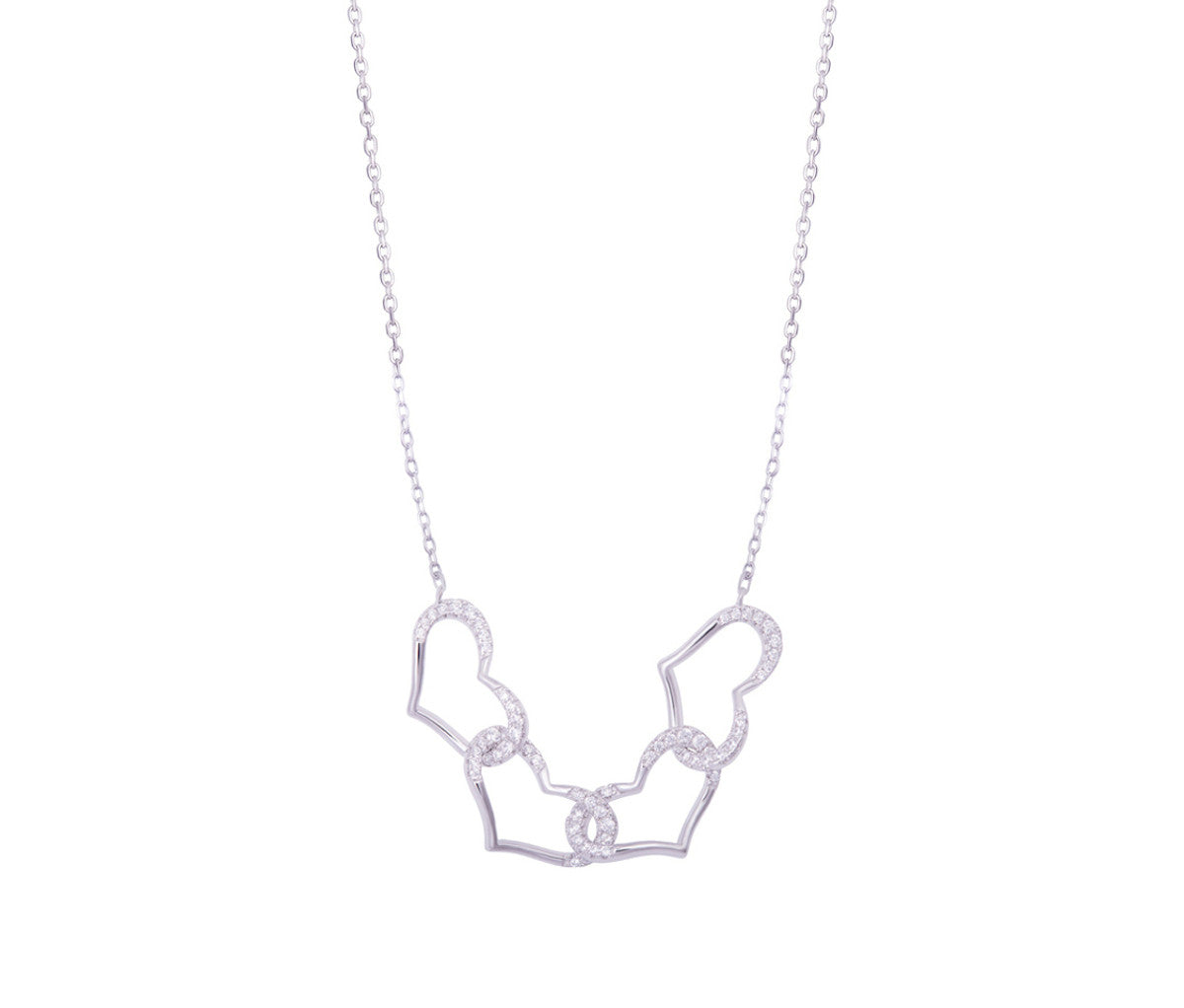 Silver Four Hearts Necklace