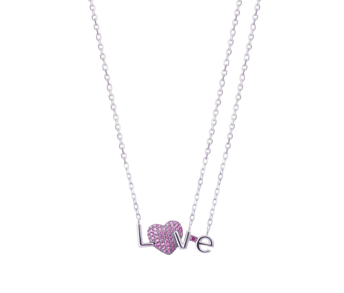 Silver LOVE Ruby Heart Necklace