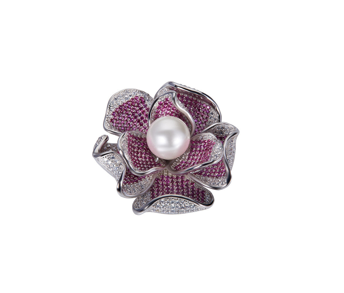 Silver Flower with Pearl Brooch