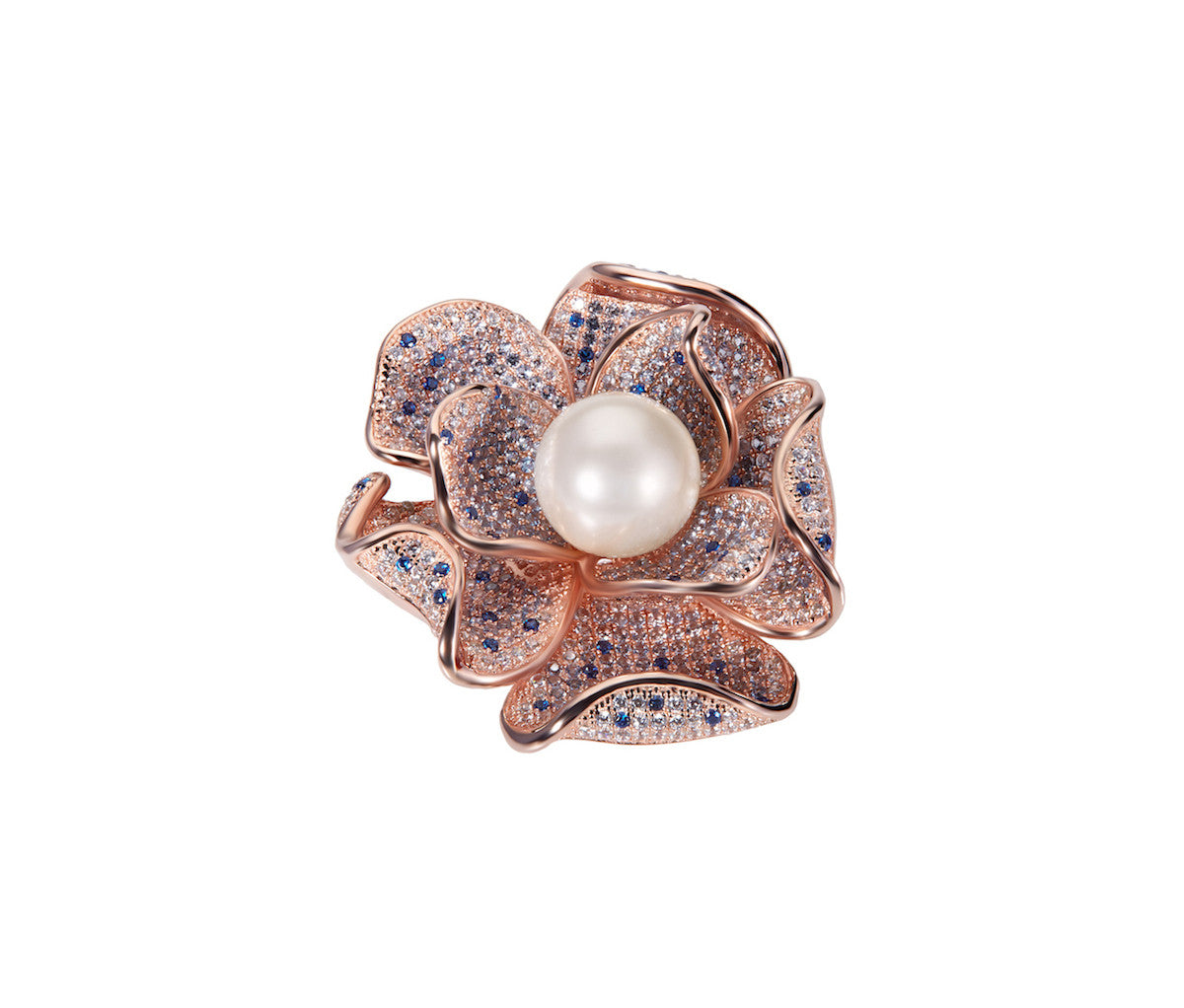 Rose Gold-plated Silver Flower with Pearl Brooch