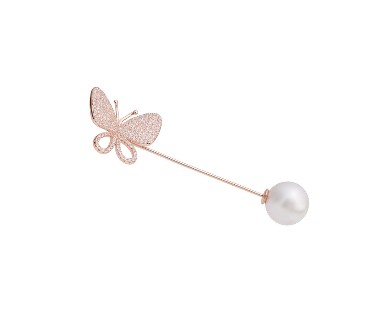 Rose Gold-plated Silver Butterfly Pearl Brooch