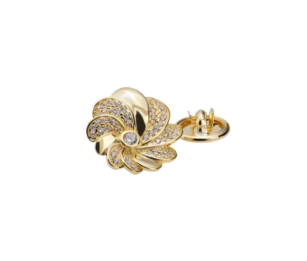 Yellow Gold-plated Silver Blooming Flower Brooch