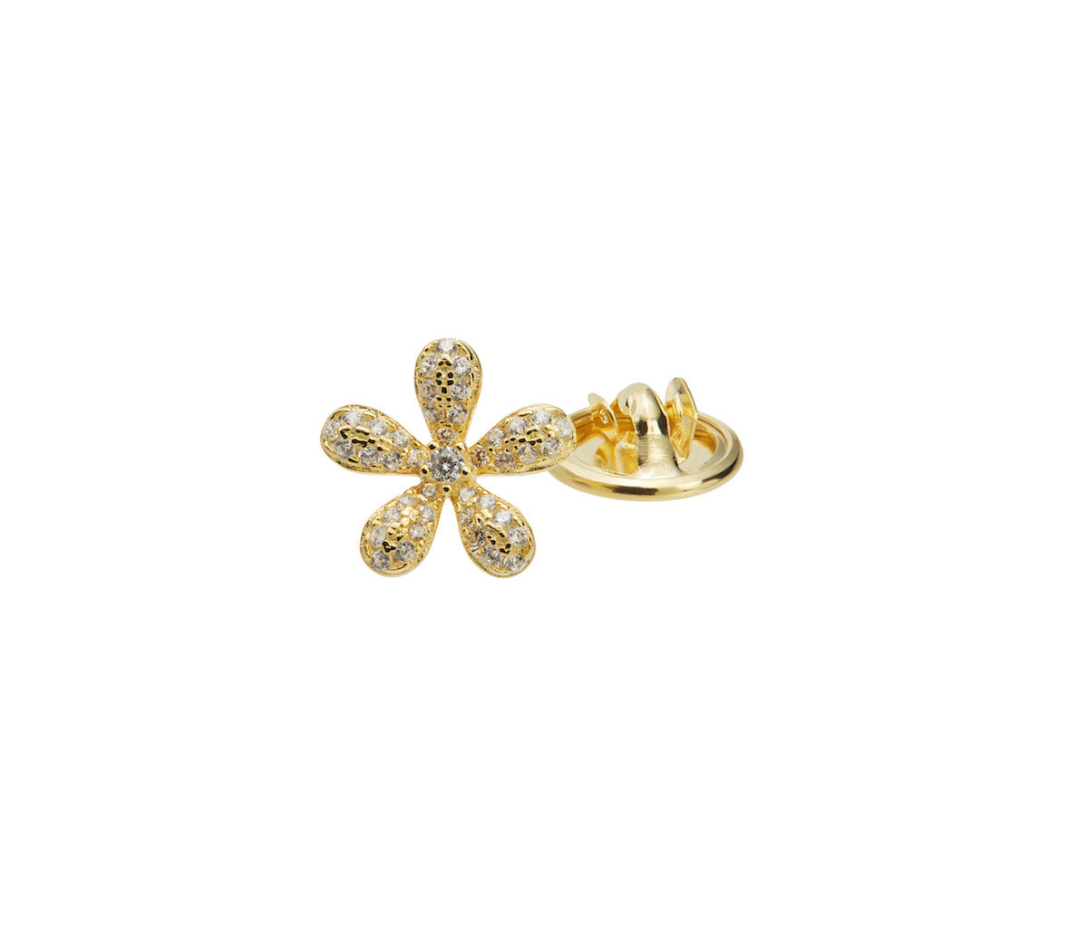 Yellow Gold-plated Silver Mini Flower Brooch