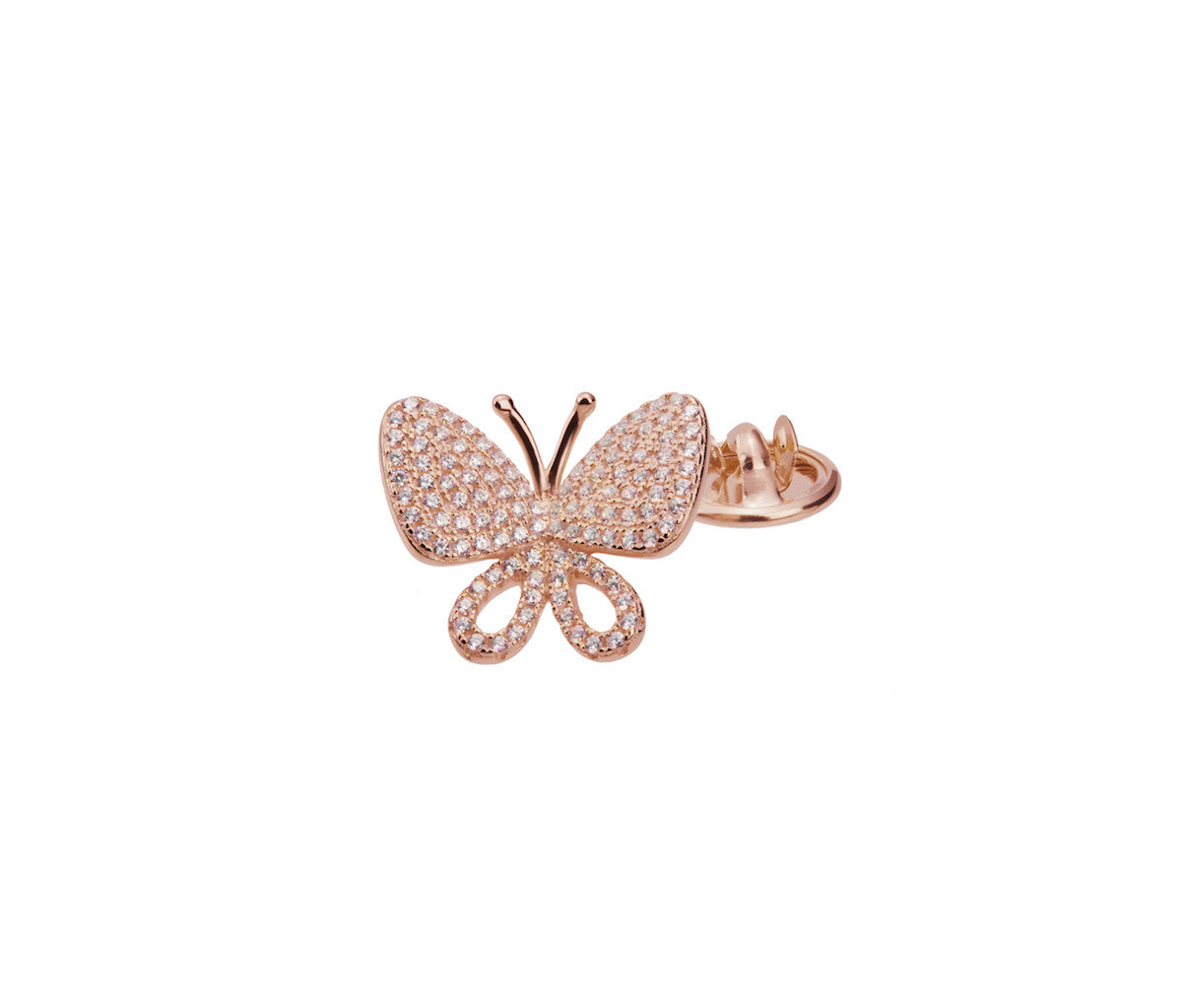 Rose Gold-plated Silver Butterfly Brooch
