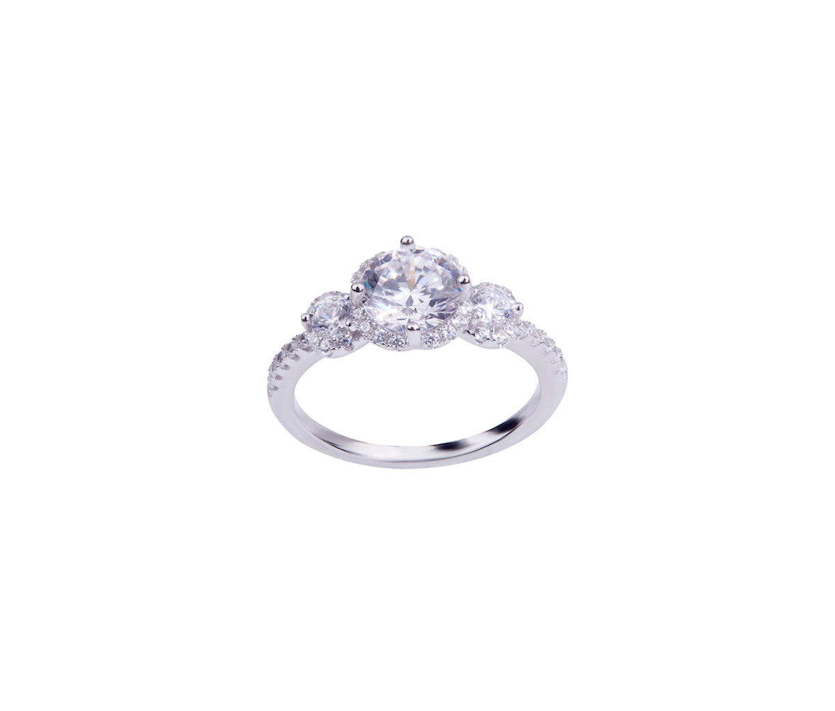 Silver Diamond-shaped Solitaire Ring