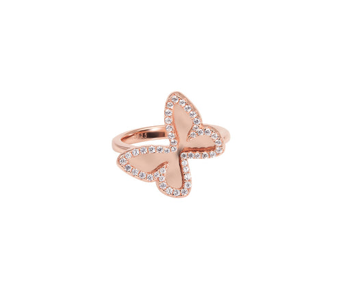 Rose Gold-plated Butterfly Mirror Ring