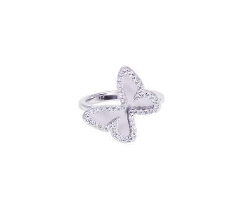 Silver Butterfly Mirror Ring