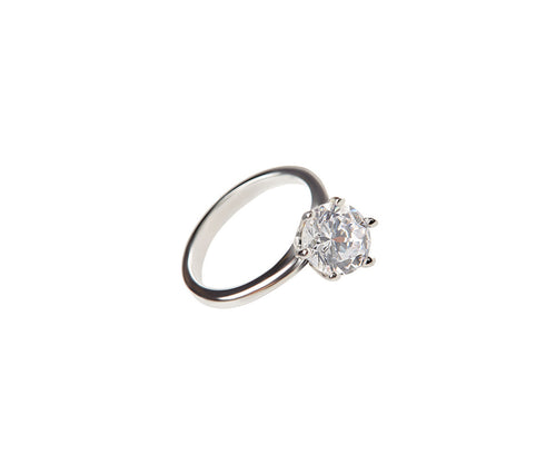 1 Carat Elegant Diamond-Shaped Silver Ring